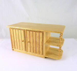 Dollhouse Miniature Oak Kitchen Island Cabinet With Spindles T4120