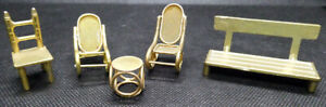Miniature Brass Seats - Park Bench, Rocking Chairs and Dining Chair