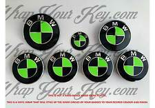 BLACK & TOXIC GREEN BMW Badge Emblem Overlay HOOD TRUNK RIMS FITS ALL BMW MSPORT