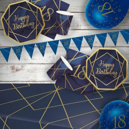 Decorations /& Balloons Navy Blue and Gold 18th Geode Party Supplies Tableware