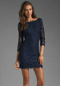 Image Is Loading Dvf Zarita Midnight Lace Dress Us Sz 8