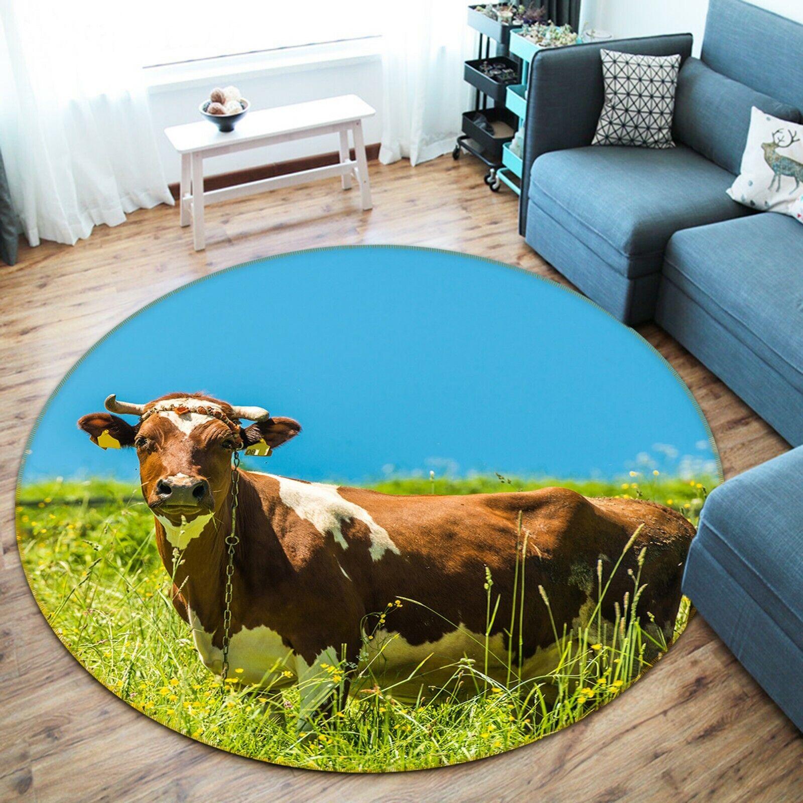 3D Prairie Pasture Cattle P100 Animal Non Slip Rug Mat Elegant Photo Carpet Zoe