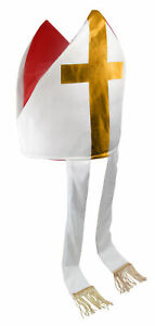 Bishop Priest Pope Costume Hat Saint Mitre Catholic Clergy Costume Accessory