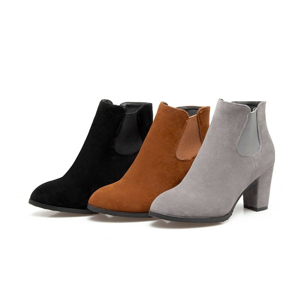 Women Pointed Toe Platform Suede Chunky Heels Pump Work Dress Zipper Ankle Boots
