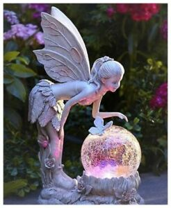 Image Is Loading Garden Statue Fairy With Globe Solar Ed Lawn