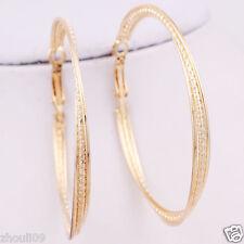 gorgeous 9k Yellow Gold Filled Elegant Ear Stud dangle hoop Earrings e527