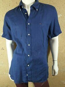 TOMMY-HILFIGER-Taille-XL-Superbe-chemise-manches-courtes-bleue-homme-PREMIUM-LIN