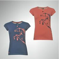 New Ladies Branded Requisite Horse Print T Shirt Short Sleeves Top Size 8-18