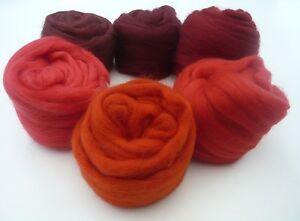 Heidifeathers-Merino-Wool-Tops-Roving-6-Red-Shades-Spinning-Felting