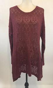 Torrid-Size-2-Knit-Sweater-Open-Weave-Rust-Brown-Asymmetrical-Hem-Cotton