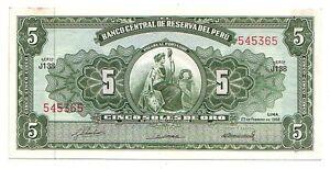 Peru-5-soles-de-oro-1968-FDS-UNC-Pick-83-Lotto-3847