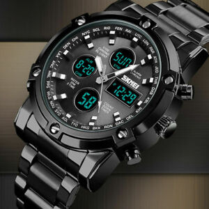 Luxury-Mens-Digital-Watches-Chronograph-Military-Army-Sport-Stainless-Steel