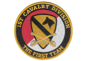 """1st Cavalry Division 5"""" Embroidered Patch - Wax Backing, Merrowed The First Team"""
