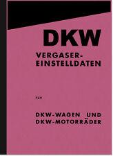 DKW Vergaser Einstelldaten Anleitung Handbuch RT SB KM NZ E 200 250 300 350 500