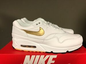sale retailer 70fd6 3c6cc Image is loading NIKE-AIR-MAX-90-1-WHITE-METALLIC-GOLD-