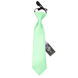 DQT-Satin-Plain-Solid-Comme-neuf-Green-Kids-Elasticated-Pre-tied-page-Boys-Tie