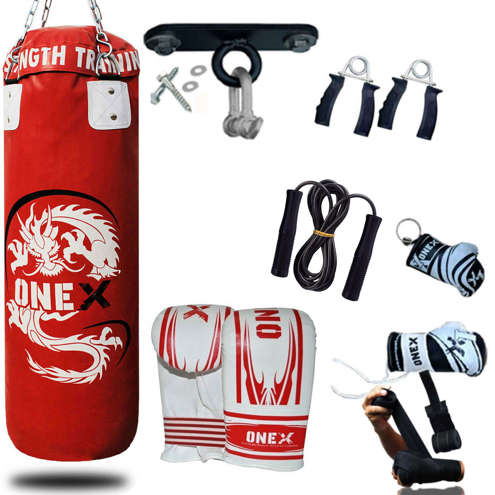 OneX 3Ft Filled Heavy Punch Bag Grappling Body Slam Man MMA Pads Boxing Gloves MMA Man 8bf6ef