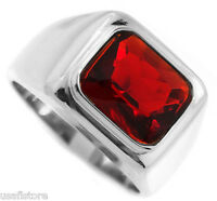 Mens Ruby Red Stone Solitaire Rhodium Ep Ring