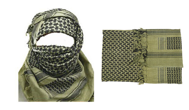 ORIGINAL SHEMAGH 100% COTTON OLIVE GREEN BLACK ARAB DESERT SCARF SAS ARMY