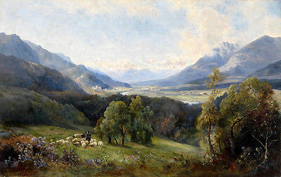 Dream-art Oil painting nice landscape with purple flowers /& shepherd and sheep