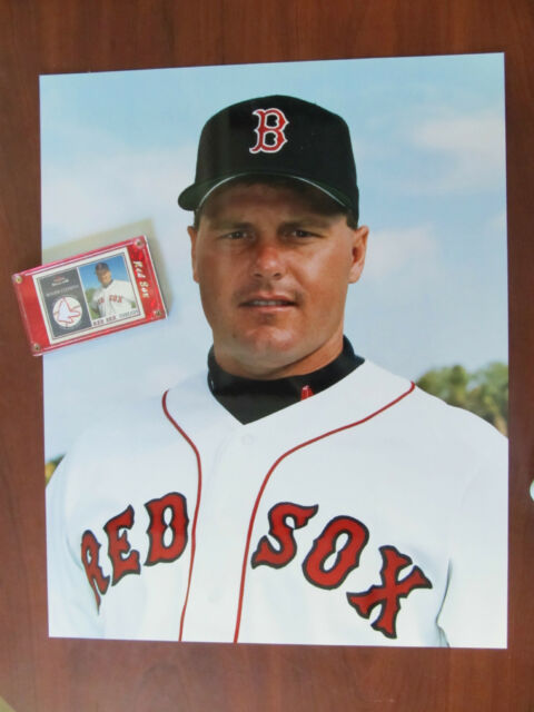 BOSTON RED SOX PITCHER ROGER CLEMENS 16x20 PHOTO + GAME-WORN JERSEY CARD