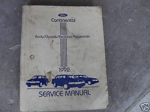 1992 FORD LINCOLN CONTINENTAL Service Shop Repair Manual DEALERSHIP 92 BOOK