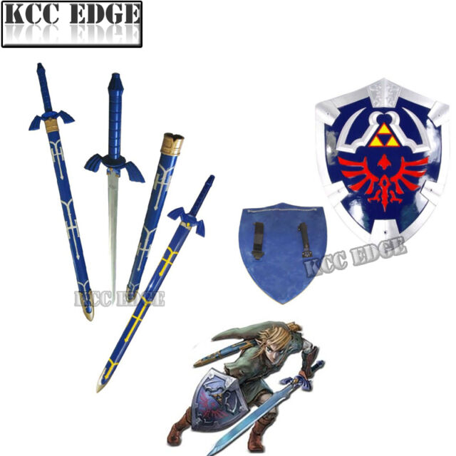 THE LEGEND OF ZELDA REAL STEEL MASTER SWORD + SHIELD SET costume link hylian