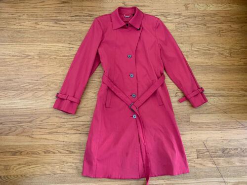 SANYO Women sz 4  Raspberry pink long Trench Coat