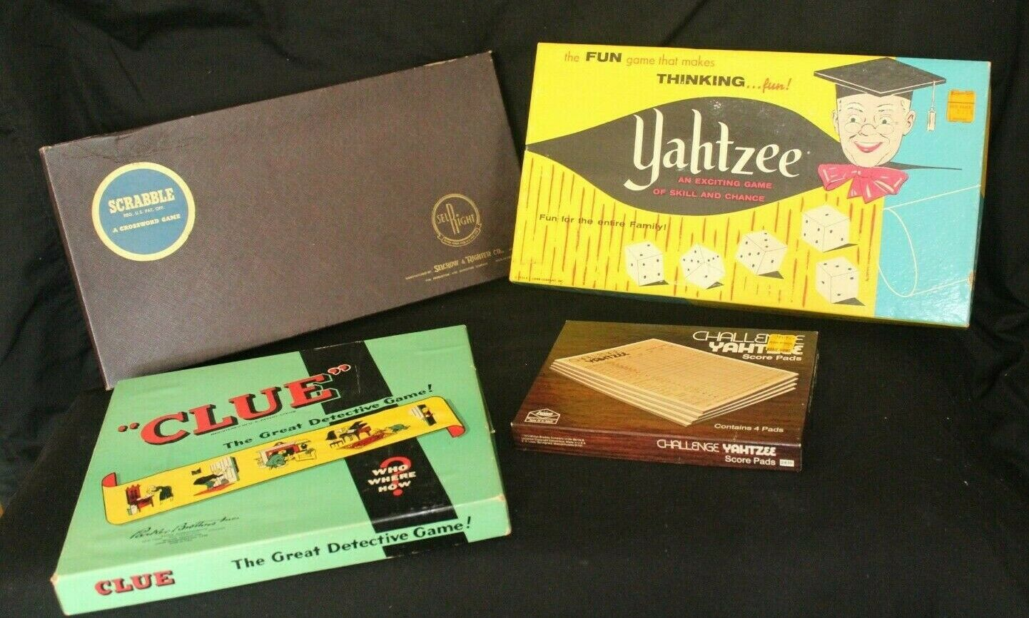 Antique 1956 ES LOWE Yahtzee  1953 Selchow Righter Scrabble  1950 PB Clue Jeux