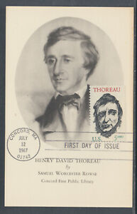 US-Planty-1327-10-FDC-1967-5c-Thoreau-FIRST-CACHET-Concord-Free-Library