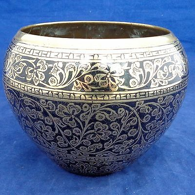 Antique Indian Brass Planter Engraved Black Lacquer Filled Hand Chased c 1900