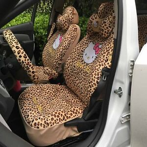 Miraculous Details About Car Seat Covers G Leopard Hello Kitty Cartoon Universal Car Interior 18 Pieces Alphanode Cool Chair Designs And Ideas Alphanodeonline