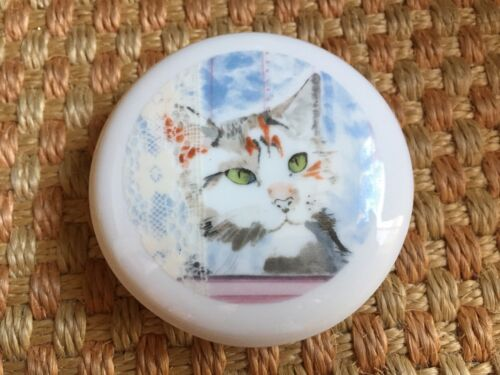 1985 Green Eyed Cat Trinket Box Minouettes C. Pradalie Kitty Porcelain Jewelry