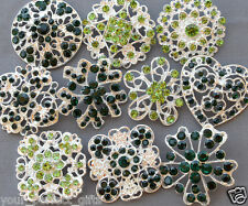 10 pcs Large Assorted Emrald Lime Green Rhinestone Button Brooch Bouquet Crystal