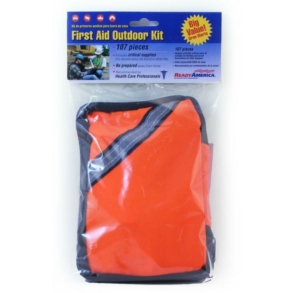 Plastic orange Housing 107-Piece Commercial Residential First Aid Outdoor Kit
