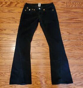 True Religion Mujeres De Joey Big T Negro Jeans Pantalones De Pana Acampanado Talla 27 52 6 Ebay