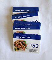 $50 RESTAURANT.COM Gift Card--Free Shipping---No Expiration!
