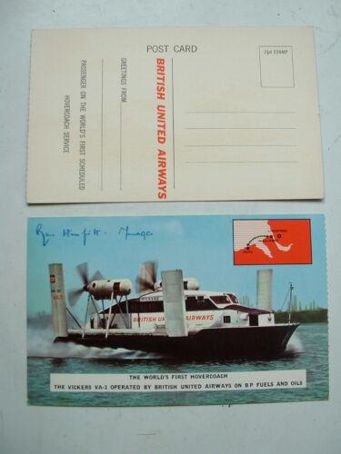 ORIGINAL 1962 BUA VICKERS VA3 SIGNED HOVERCRAFT POSTCARD Signed