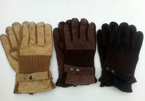 BROWN COLOURS Mens Leather Gloves with button strap fastening