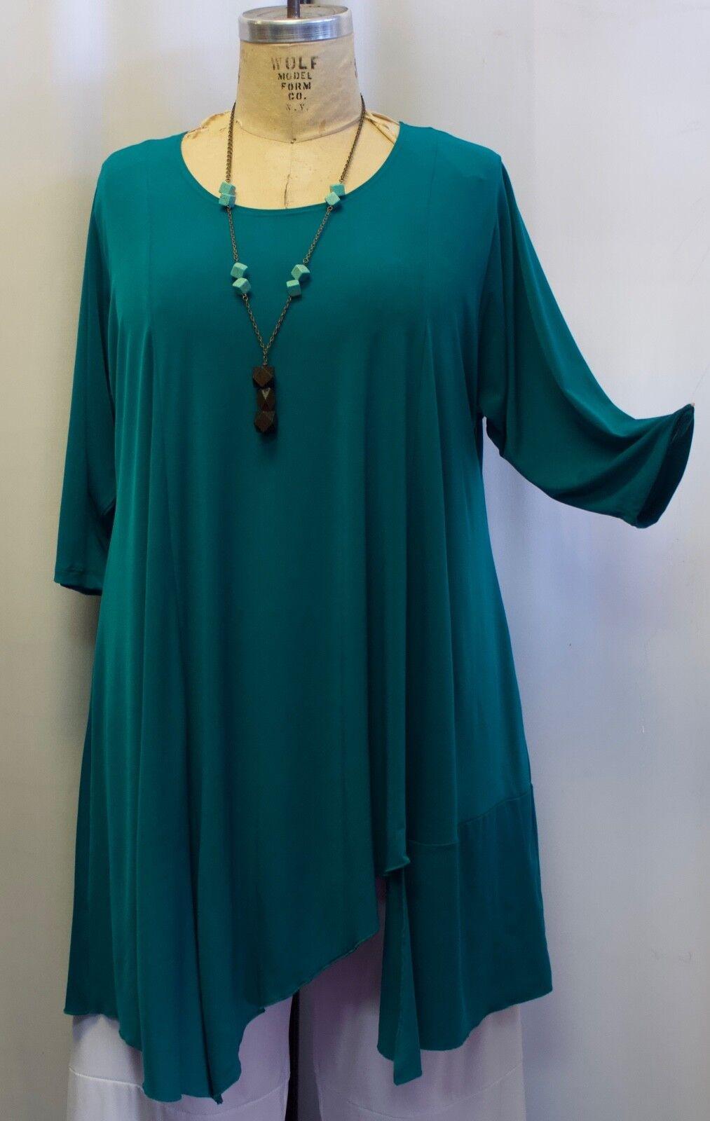 Coco & Juan Lagenlook Plus Size Tunic Top Green Asymmetric Women Top 3X 24X B60