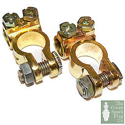 Car-Battery-Terminals-Clamps-Pair-Screw-Connection-Positive-amp-Negative-Brass-Coa