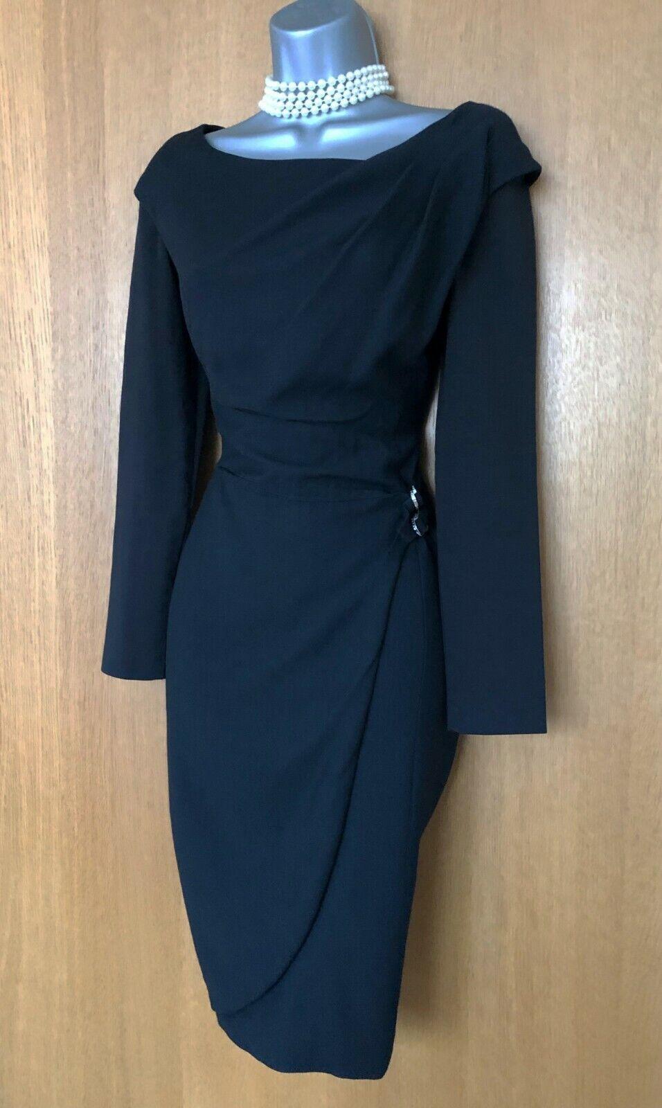 Karen Millen schwarz Wool Blend Long Sleeves Formal Office Work Shift Dress