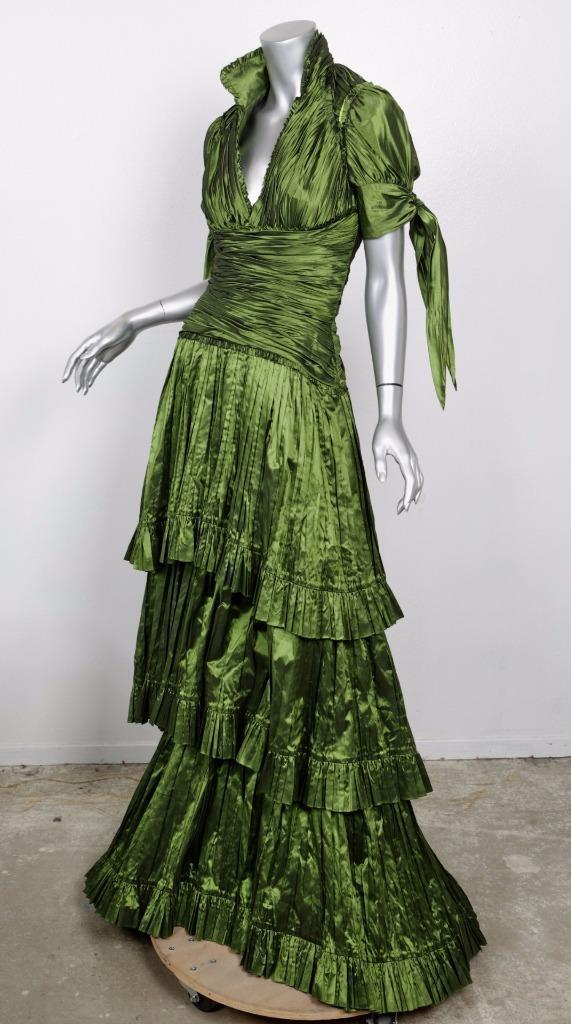 Naeem Kahn Damen Seide Grün Plunge Plissiert Langes Kleid Abendkleid 6 Nwt
