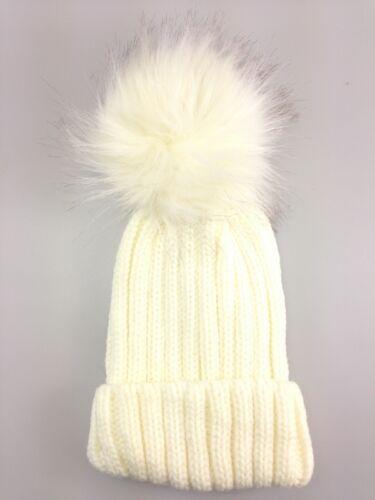 Childrens Winter warm fashionable  single Faux Fur pom pom beanie hat Kids