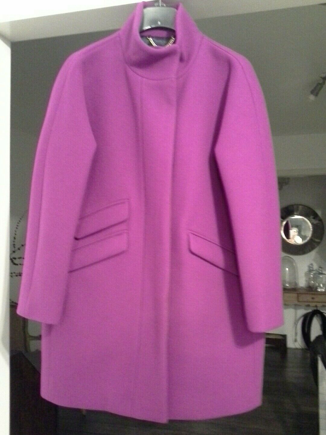 J.Crew Petite Cocoon Coat in Italian Stadium-cloth Wool Bright Plum 10P