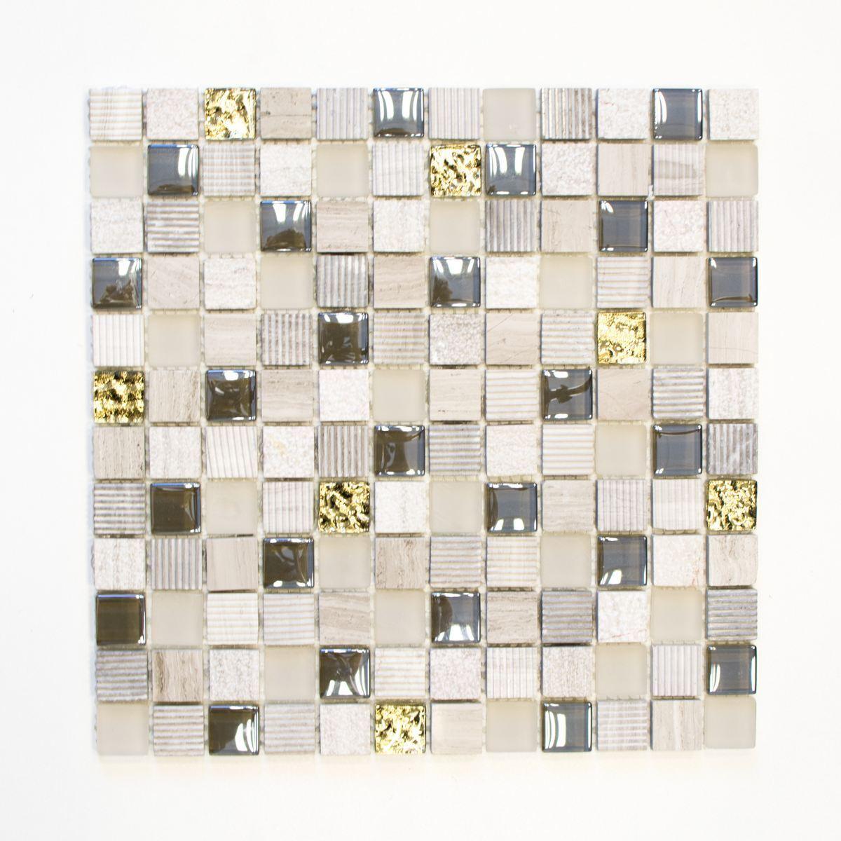 Mosaik Fliese Transluzent hellgrau gold mosaik Crystal 83-HQ22_f 10 Matten