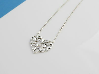 bcb9bd100 Tiffany & Co Silver Picasso Olive Leaf Heart 18 Inch Necklace! | eBay