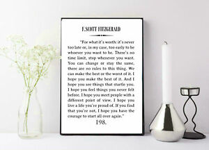Details about F Scott Fitzgerald Quote Great Gatsby Poster Great Gatsby Wall Art Literary