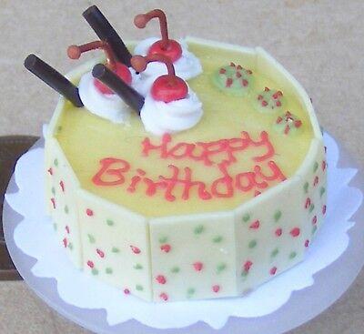 Échelle 1:12 gâteau d/'anniversaire avec Citron Cerise /& Cerises maison de poupées miniature NC15