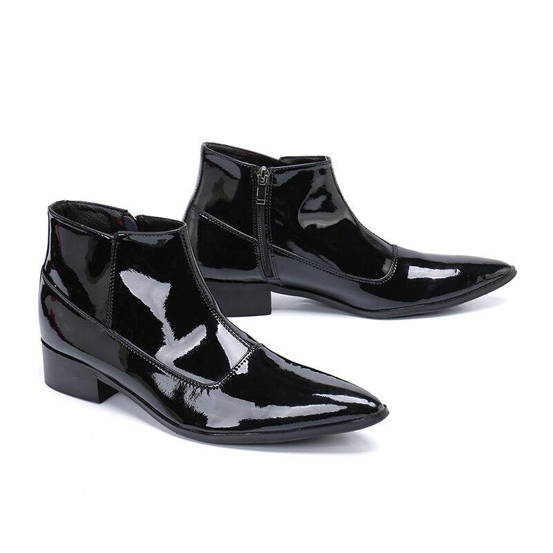Negocio De Cuero Charol Para Hombre Tobillo Tacones De Bloque De Inicio Zapatos Punk De Invierno b99